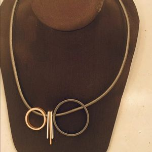"Geometric Circle Necklace 17-20"" Silver Rose Gold"